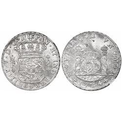 Mexico City, Mexico, pillar 8 reales, Philip V, 1734MF, ex-Rooswijk (1739), encapsulated NGC AU deta