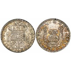 Mexico City, Mexico, pillar 8 reales, Philip V, 1742MF.