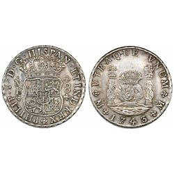 Mexico City, Mexico, pillar 8 reales, Philip V, 1743/2MF.