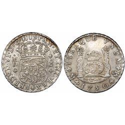 Mexico City, Mexico, pillar 8 reales, Ferdinand VI, 1750MF, recut 75.