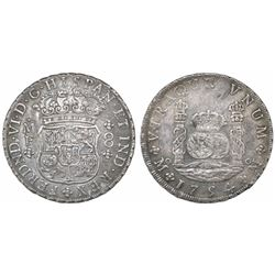 Mexico City, Mexico, pillar 8 reales, Ferdinand VI, 1754MF, crowns alike.