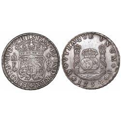 Mexico City, Mexico, pillar 8 reales, Ferdinand VI, 1754MF, dissimilar crowns, recut 4.