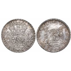 Mexico City, Mexico, pillar 8 reales, Ferdinand VI, 1754MM/MF, dissimilar crowns, very rare.