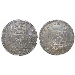 Mexico City, Mexico, pillar 8 reales, Ferdinand VI, 1755/4MM, very rare, encapsulated NGC XF 45.