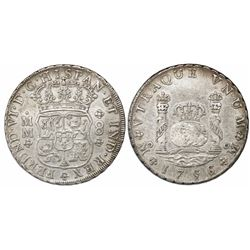 Mexico City, Mexico, pillar 8 reales, Ferdinand VI, 1756/5MM, rare.