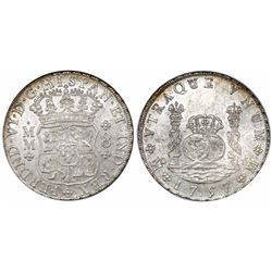 Mexico City, Mexico, pillar 8 reales, Ferdinand VI, 1757MM, remodeled imperial crown.