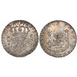 Mexico City, Mexico, pillar 8 reales, Ferdinand VI, 1759MM, recut 9.