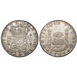 Mexico City, Mexico, pillar 8 reales, Charles III, 1761MM, cross between H and I, no dots on shield