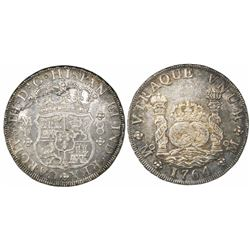 Mexico City, Mexico, pillar 8 reales, Charles III, 1764MF.