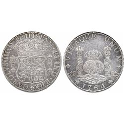 Mexico City, Mexico, pillar 8 reales, Charles III, 1764MF, double-arc crown.