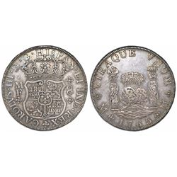 Mexico City, Mexico, pillar 8 reales, Charles III, 1765MF, double-arc crown.