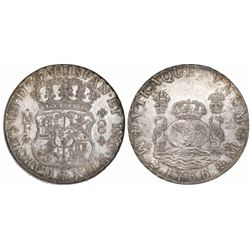 Mexico City, Mexico, pillar 8 reales, Charles III, 1766MF.