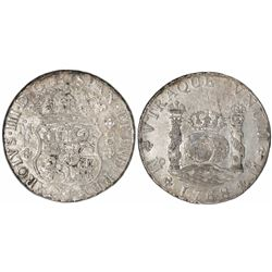 Mexico City, Mexico, pillar 8 reales, Charles III, 1768/7MF, rare.
