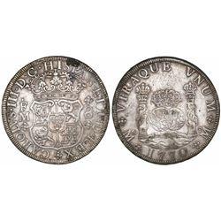 Mexico City, Mexico, pillar 8 reales, Charles III, 1770/69FM, rare.