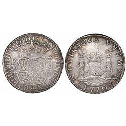 Mexico City, Mexico, pillar 8 reales, Charles III, 1770FM.