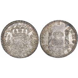 Mexico City, Mexico, pillar 8 reales, Charles III, 1771/0FM, rare.
