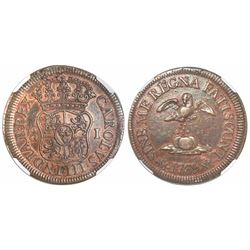 Mexico City, Mexico, copper 1 grano, Charles III, 1769, very rare, encapsulated NGC XF 45 BN.