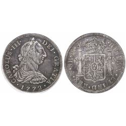 Mexico City, Mexico, bust 8 reales, Charles III, 1772FM, initials facing rim, encapsulated PCGS XF45