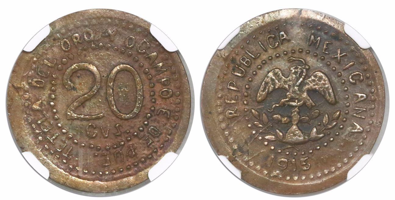 1915 Mexican Revolution Puebla Tetela Del Oro y Ocampo 2 Centavos Coin Mexico