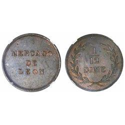 Leon, Nicaragua, copper 1/12 dime token, Mercado de Leon (1877), rare, encapsulated NGC AU 58 BN, fi