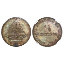 Leon, Nicaragua, 1-1/2 centavos copper token, Compania Aguadora de Leon (1885), encapsulated NGC MS