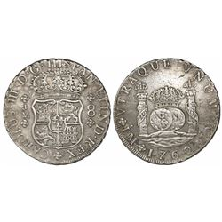 Lima, Peru, pillar 8 reales, Charles III, 1762JM, dots over both mintmarks.