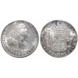Lima, Peru, bust 8 reales, Charles IV, 1808JP, encapsulated ANACS AU 55.