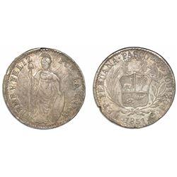 Pasco, Peru, 4 reales, 1857, assayer Z inside O, ex-Almanzar.