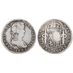Portugal, 870 reis (1834), crowned-arms countermark on a Zacatecas, Mexico, bust 8 reales, Ferdinand