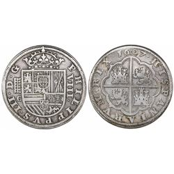 Segovia, Spain, milled 8 reales, Philip III, 1607C.