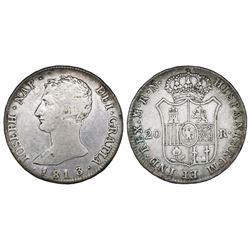 Madrid, Spain, 20 reales de vellon, Joseph Napoleon, 1813RN.