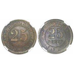Sumatra, proof copper 25 cents token, Netherlands India Sumatra Tobacco Company Limited, encapsulate