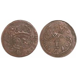 Caracas, Venezuela, copper 1/4 real, 1814.