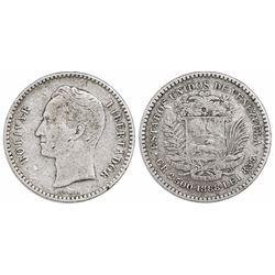 Venezuela, 1/2 bolivar (50 centimos or 2.500 gramos), 1888, rare.
