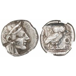 "Attica, Athens, AR tetradrachm, ""owl,"" ca. 440-404 BC, encapsulated NGC Ch XF strike 5/5 surface 3/5"
