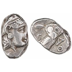 "Attica, Athens, AR tetradrachm, ""owl,"" late mass coinage issue ca. 300-262 BC."