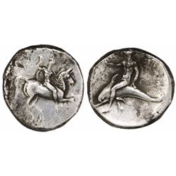 "Calabria, Tarentum, AR nomos, ""boy on dolphin,"" ca. 280-235 BC."