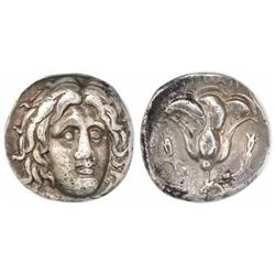 Caria, Rhodes, AR didrachm, 305-275 BC, Antipatros magistrate, encapsulated ANACS EF 40.