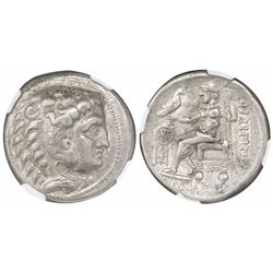 Celts of Lower Danube, AR tetradrachm, 3rd century BC or later, imitating Philip III of Macedon, enc