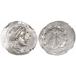 Myrina, Aeolis, AR tetradrachm, mid-2nd century BC, stephanephoric type, encapsulated NGC MS strike