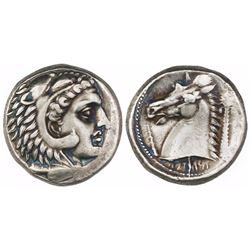Sicily, Siculo-Punic, AR tetradrachm, ca. 300-289 BC, Quaestors issue.