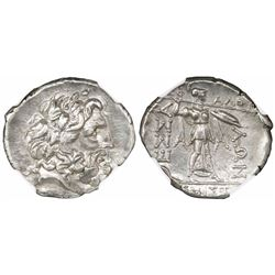 Thessaly, Thessalian League, AR double-vicoriatus, 2nd-1st centuries BC, encapsulated NGC CH AU stri