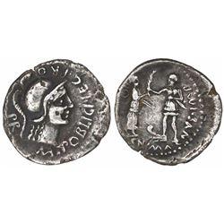 Roman Empire, AR denarius, Cnaeus Pompey Jr., 46-45 BC, Corduba mint, Marcus Poblicius, legatus pro