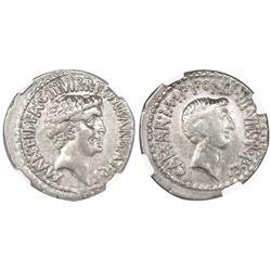 Roman Empire, AR denarius, Marc Anthony and Octavian, M. Barbatius Pollio, quaestor pro praetore, 41