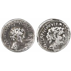 Roman Empire, AR denarius, Mark Antony and Octavian, as Triumvirs and Imperators (43-31 BC), struck