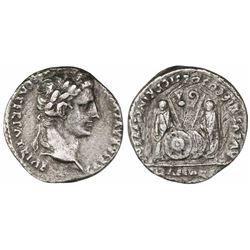 Roman Empire, AR denarius, Augustus Caesar, 27 BC to 14 AD, Lugdunum mint.