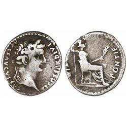 """Roman Empire, AR denarius """"tribute penny,"""" Tiberius,14-37 AD, Lugdunum mint."""