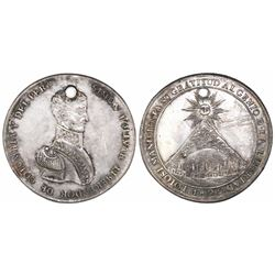 Potosi, Bolivia, large silver Bolivar medal with mountain of Potosi, 1825.