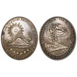 Potosi, Bolivia, oval silver medal, 1833, visit to the port of Cobija.