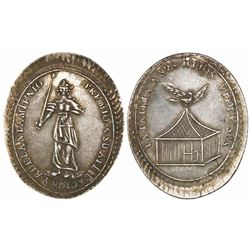 Bolivia, oval silver medal, progress award, early to mid-1800s.